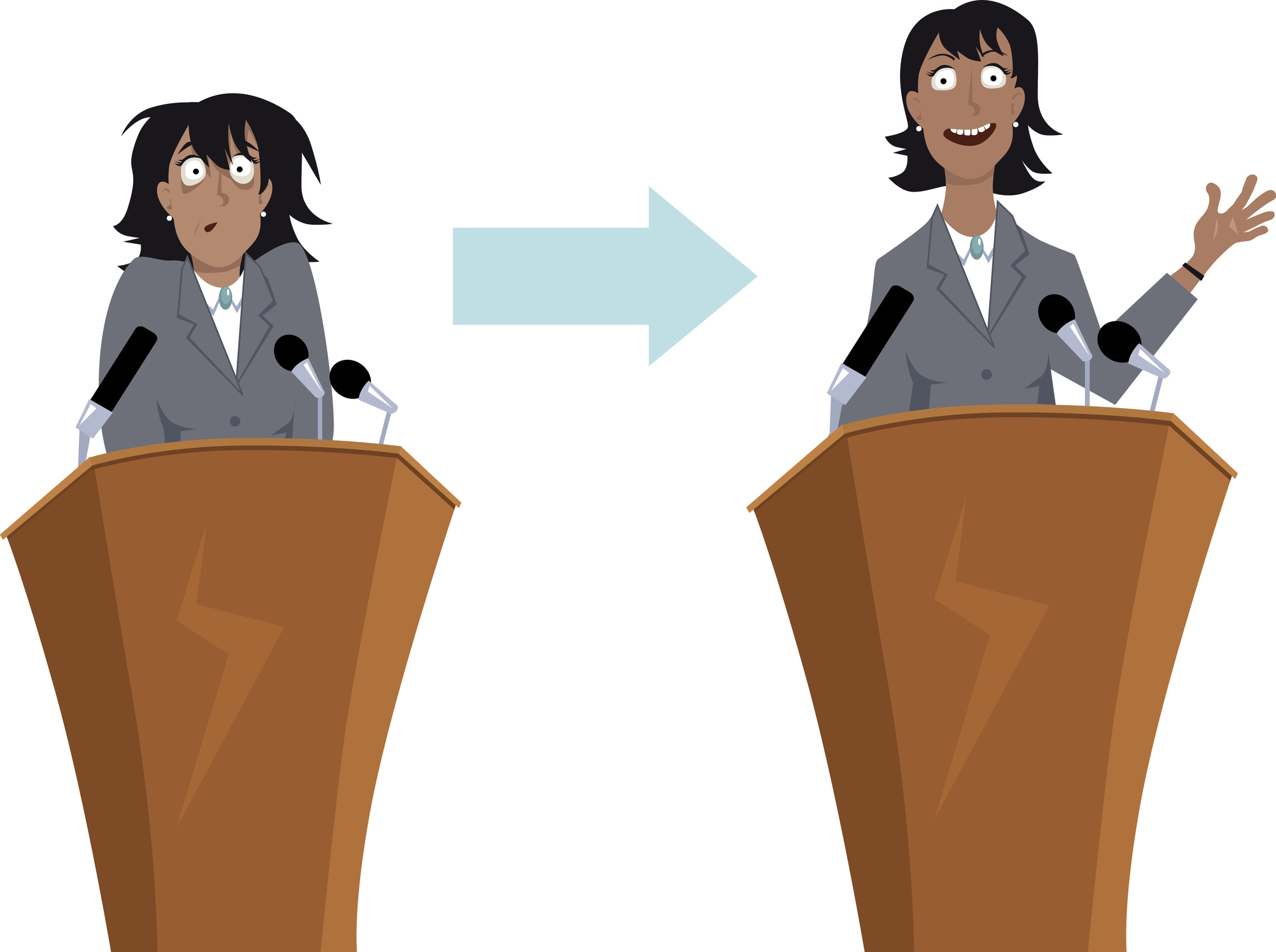 Anxious businesswoman character before and after public speaking training, EPS 8 vector illustration